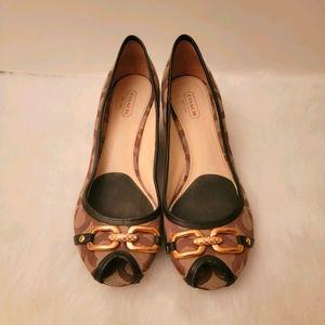 Coach Est-1941 Wedge Open Toe Shoes Size 8B